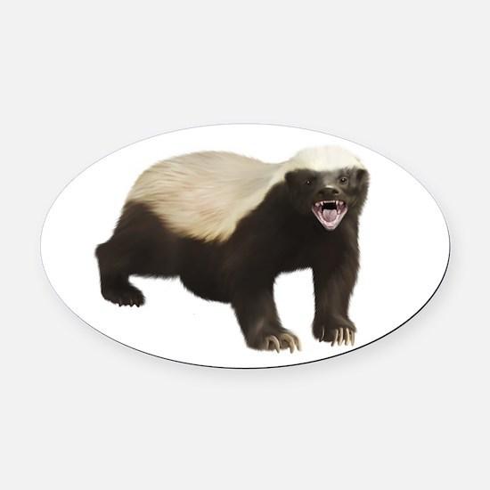 Honey Badger Oval Car Magnet