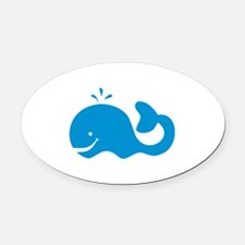 Whale Oval Car Magnet