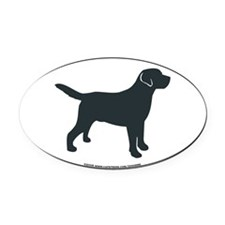 Labrador Retriever Silhouette Oval Car Magnet
