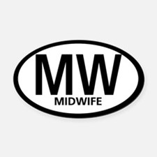 Midwife Black Oval Oval Car Magnet