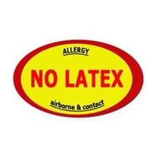 No Latex / Latex Allergy Oval Car Magnet