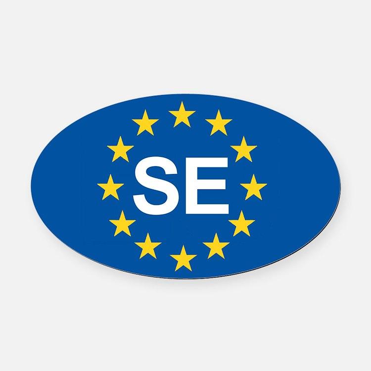 Sweden EU Oval Car Magnet