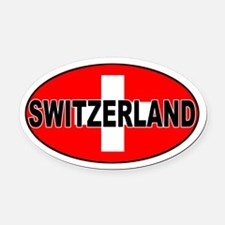 Swiss / Switzerland (CH) Oval Car Magnet
