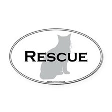 Rescue Cat Oval Car Magnet