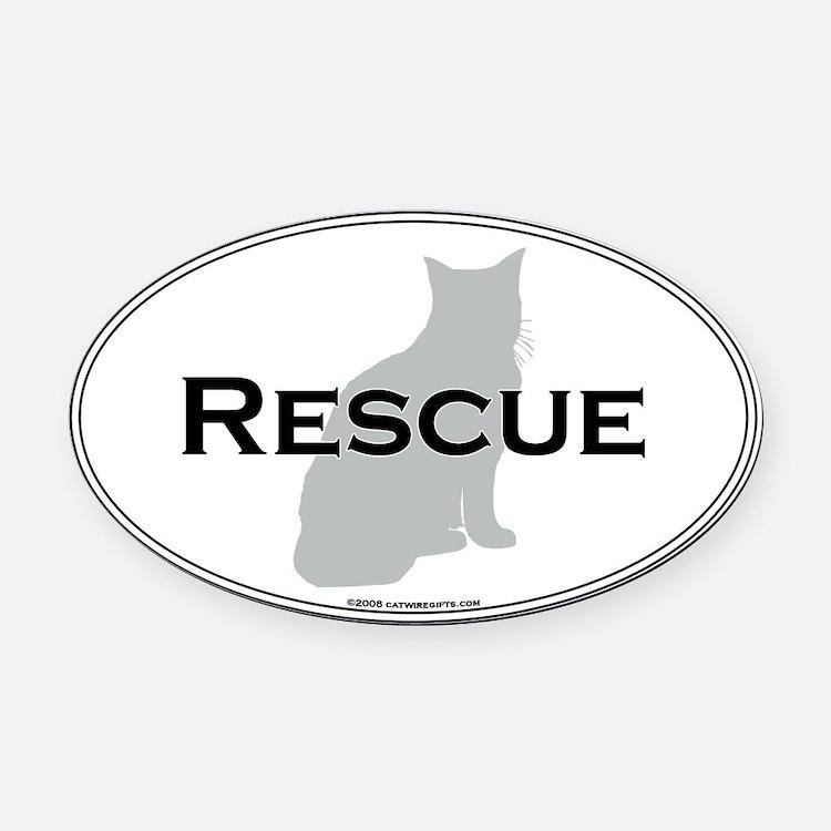 Rescue Cat Oval Car Magnet