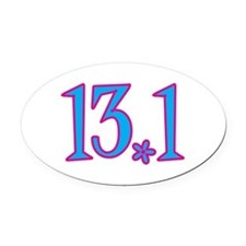 13.1 pink blue flower Oval Car Magnet