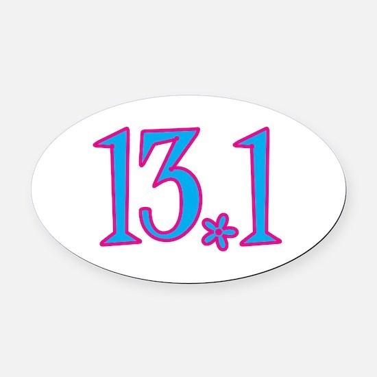 13.1 pink blue flower Oval Car Magnet