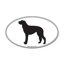 Deerhound Silhouette Oval Car Magnet