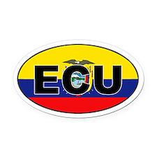 Flag of Ecuador (ECU) Oval Car Magnet