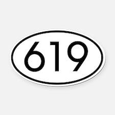 619 San Diego Area Code Oval Car Magnet