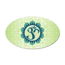 Lotus Aum Blue/Green - Oval Car Magnet