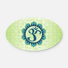 Lotus Aum Blue/Green - Oval Car Magnet