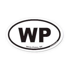 White Plains New York WP Euro Oval Car Magnet