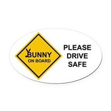 bunny on board Oval Car Magnet