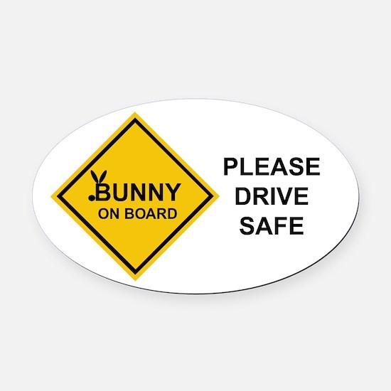 bunny on board Oval Car Magnet