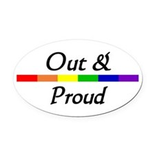 """Out & Proud"" Oval Car Magnet"