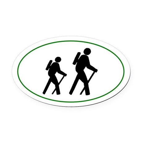 Hikers silhouette Oval Car Magnet