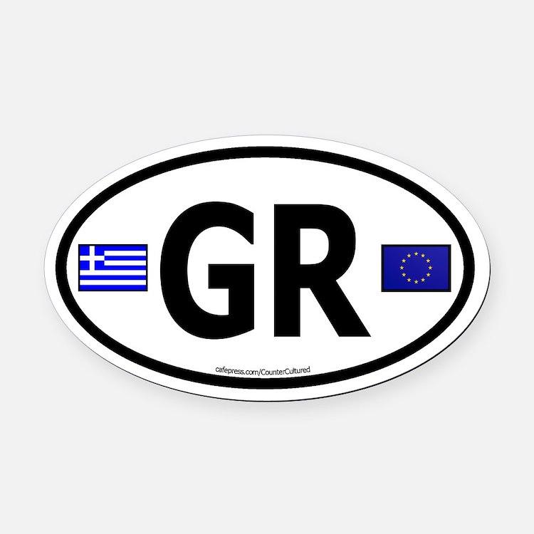 Greek Euro Oval Car Magnet