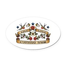 Live Love Cutting Hair Oval Car Magnet