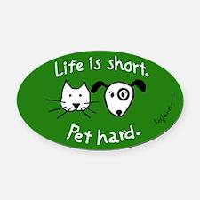 Pet Hard (Pets) Oval Car MagnetAsparagus Oval)