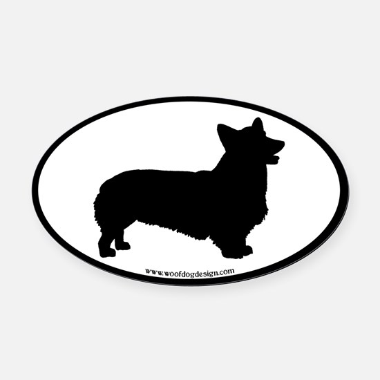Welsh Corgi Oval (black border) Oval Car Magnet