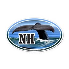 NH New Hampshire Whale Tail Decal Oval Car Magnet