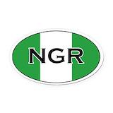 Nigeria Oval Car Magnets