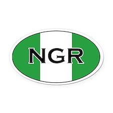 Nigerian Flag Oval Car Magnet