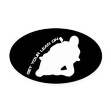 Funny Motorcycle Oval Car Magnet