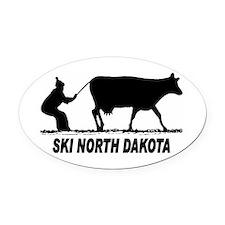 Ski North Dakota Oval Car Magnet