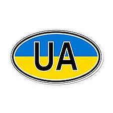 Ukraine Euro Oval Car Magnet