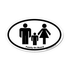 Family On Board Euro Oval Car Magnet (one child)