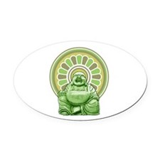 Laughing Buddha Oval Car Magnet