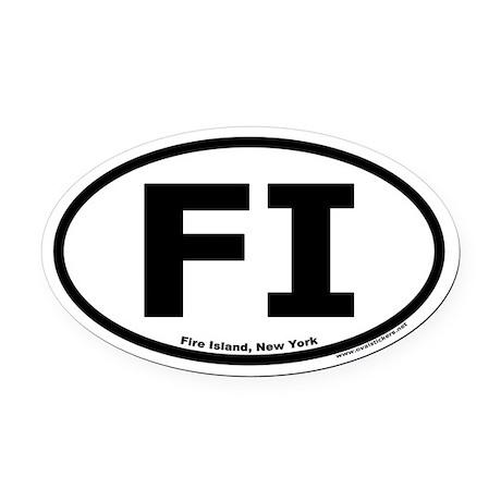 "Fire Island, NY ""FI"" Oval Car Magnet"