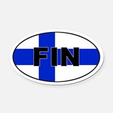 Finnish / Finland (FIN) Flag Oval Car Magnet