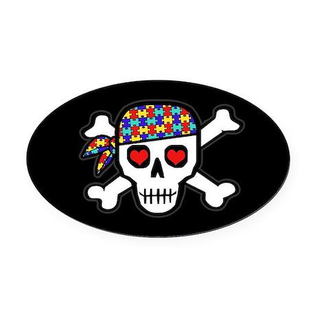 Rockin' Autism Skull (Blk) Oval Car Magnet