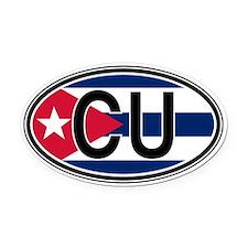 Cuba Euro Oval Car Magnet