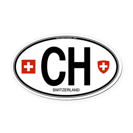 Switzerland Euro Oval Oval Car Magnet