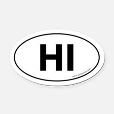 Hawaii HI Oval Car Magnet Auto Oval Car Magnet -Wh