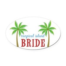 Bride Tropical Island Oval Car Magnet