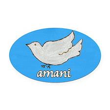Amani Swahili Peace Dove Oval Car Magnet