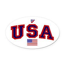 USA Flag Oval Car Magnet
