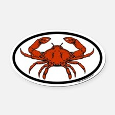 Steamed Crab Euro Oval Car Magnet with Crab