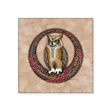 "Celtic Owl Square Sticker 3"" x 3"""