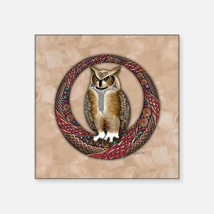 "Celtic Owl Square Sticker 3"" x 3"""
