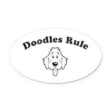 Doodles Rule Oval Car Magnet