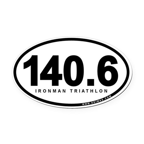 140.6 Ironman Triathlon Oval Car Magnet