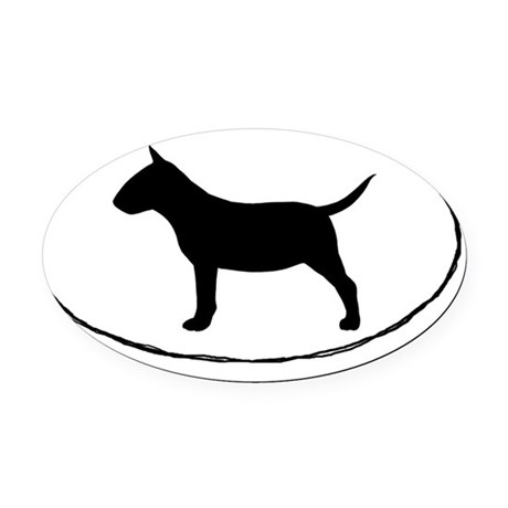 Miniature Bull Terrier Oval Car Magnet