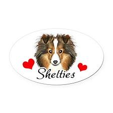 Love Shelties Oval Car Magnet