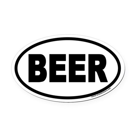 BEER Euro Style Oval Car Magnet